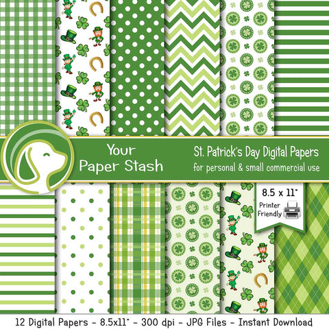 "8.5x11"" St. Patrick's Day Digital Scrapbook Papers"