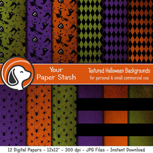 textured distressed halloween digital paper scrapbook backgrounds witch ghost pumpkins gothic patterns designs digital art