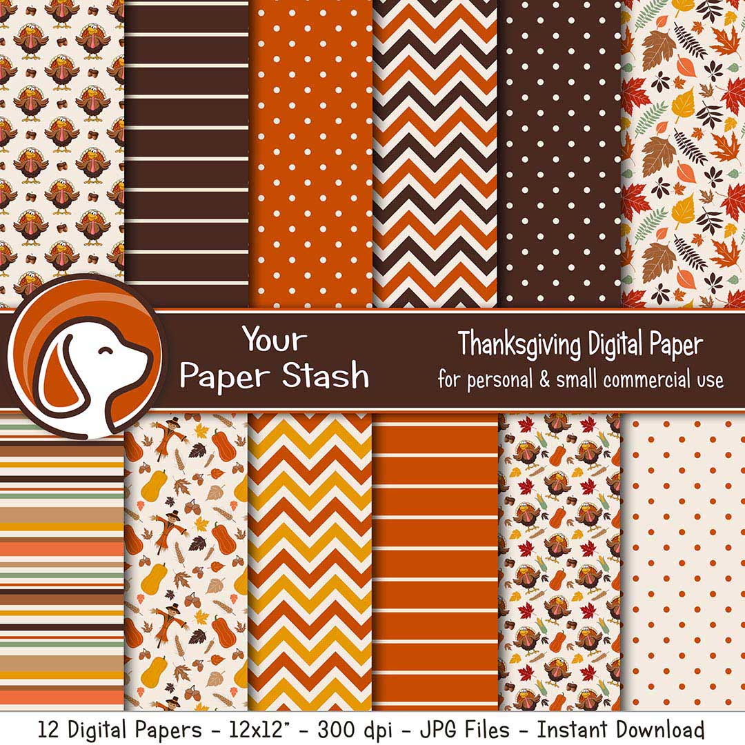 Thanksgiving Digital Scrapbook Papers w/ Turkeys & Autumn Leaves