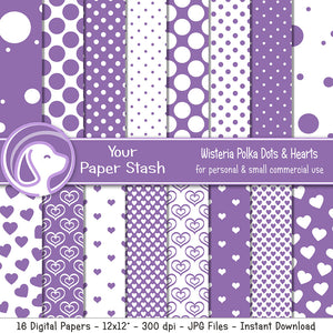 Purple Polka Dot and Heart Digital Paper for Birthday Scrapbook Pages, Purple Scrapbooking Papers Instant Download