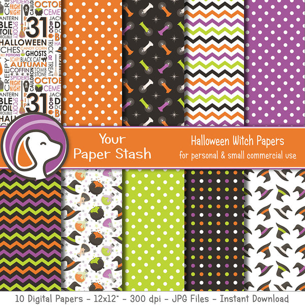 Halloween Witch Scrapbook Papers w/ Potions Cauldrons Witch Hats