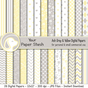 Yellow and Gray Digital Paprs for Spring and Summer Scrapbook Pages, Polka Dot Chevrons and Floral Patterns for Baby Showers