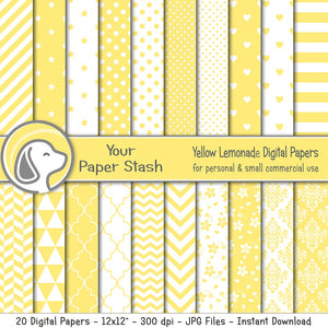 Yellow Digital Paper Pack for Summer Scrapbook Pages, Yellow Stripe Chevron Polka Dot & Star Digital Papers