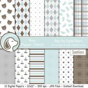 light blue baby boy digital scrapbook paper backgrounds teddy bear polka dot argyle footprint plaid sailboat star