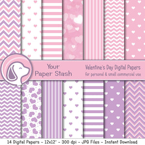 Pink and Lavender Valentine Digital Scrapbook Paper
