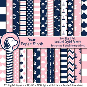 pink blue nautical theme digital paper backgrounds anchor fish scale sailboat chevron starfish baby shower gender reveal digital backgrounds anchors aweigh girl 1st birthday scrapbooking