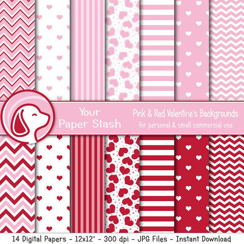 red pink heart chevron stripes digital scrapbook paper scrapbooking backgrounds instant download backgrounds floating hearts valentine crafts card making
