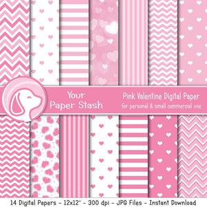 pink heart digital scrapbook paper scrapbooking backgrounds stripes chevrons bokeh floating hearts valentines day valentine baby girl shower gender reveal pages instant download commercial use