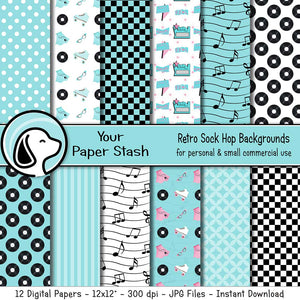 50s sock hop digital scrapbook paper