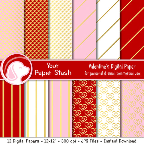Red Pink Gold Valentine Hearts Digital Scrapbook Paper