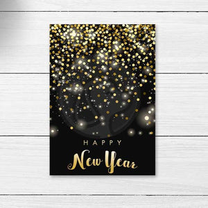 new years eve gold black confetti cookie card elegant party decorations printables