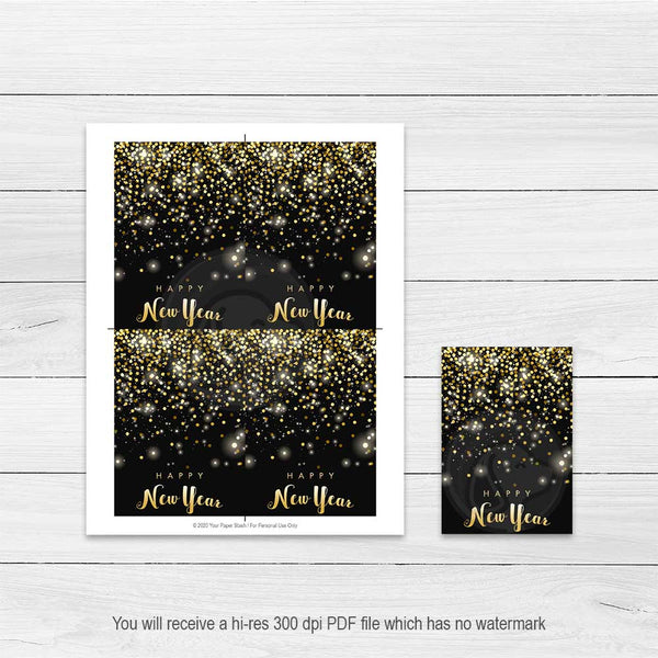 new years eve printable cookie cards note cards party favor decorations decor black gold glitter sparkle
