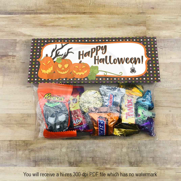 happy halloween candy treat favor bag toppers printables party supplies classroom parties