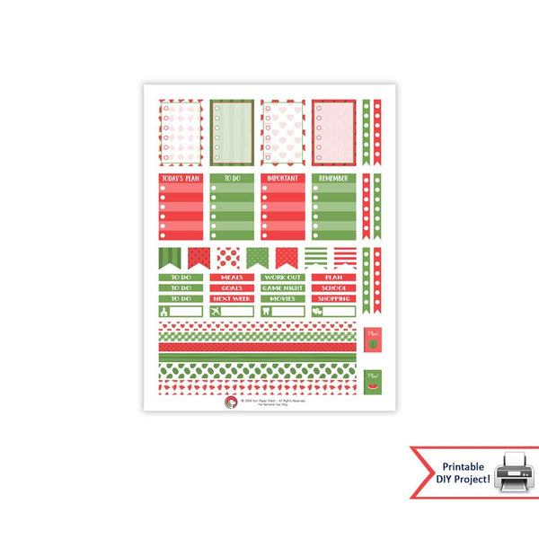 Summer Watermelon Themed Weekly Printable Planner Sticker Kit for Happy Planners and Many Other Planners