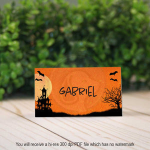 printable haunted house halloween party place card name tag escort card party decor decorations