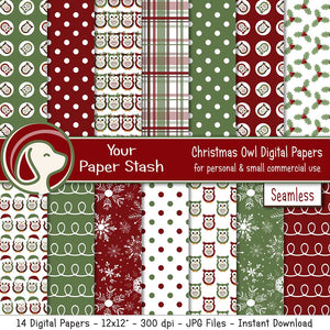 christmas owl red green digital scrapbook paper holly polka dot plaid ribbon snowflake backgrounds