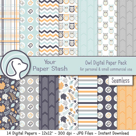 owl woodsy woodland creatures digital paper backgrounds scrapbooking scrapbook paper crafts creative projects kids baby birthday baby shower gender reveal