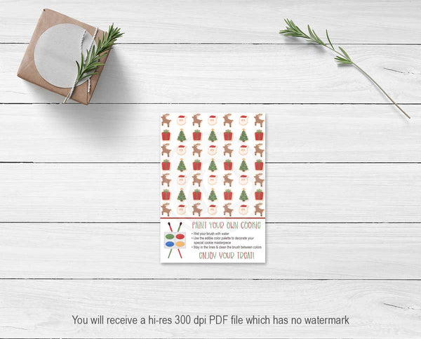 santa rudolph christmas paint your own cookie cards for kids christmas craft ideas printables instant download your paper stash yourpaperstash