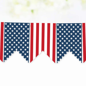 Stars and Stripes Printable Banner for 4th of July, Memorial Day, and Veterans Day,  Red White and Blue Printable Banner and Bunting