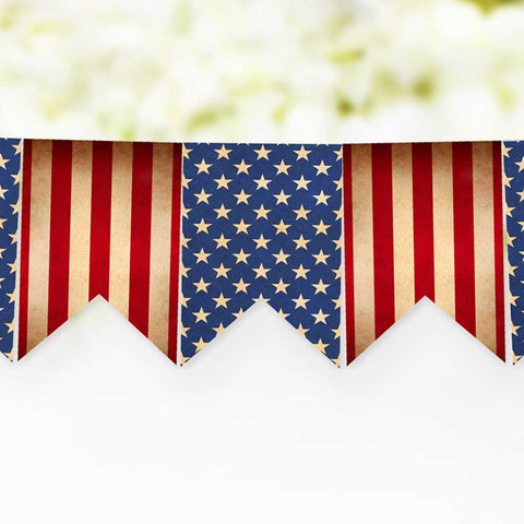 Rustic 4th of July Stars & Stripes Printable Banner, Vintage Style Patriotic Banner for Memorial Day, Veteran's Day, and 4th of July
