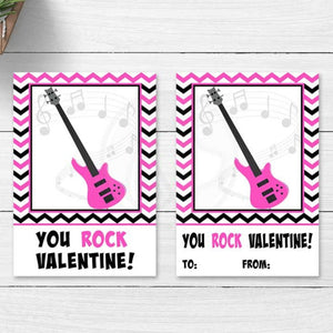 hot pink you rock valentine printable cookie card tag electric guitar kids valentine craft project classroom party