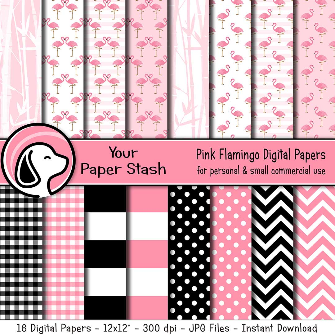 pink flamingo digital scrapbook paper backgrounds bamboo