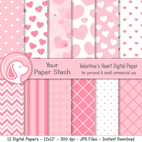 pink heart valentines day digital scrapbook paper backgrounds scrapbooking romantic baby girl card making supplies craft crafting paper designs backgrounds your paper stash