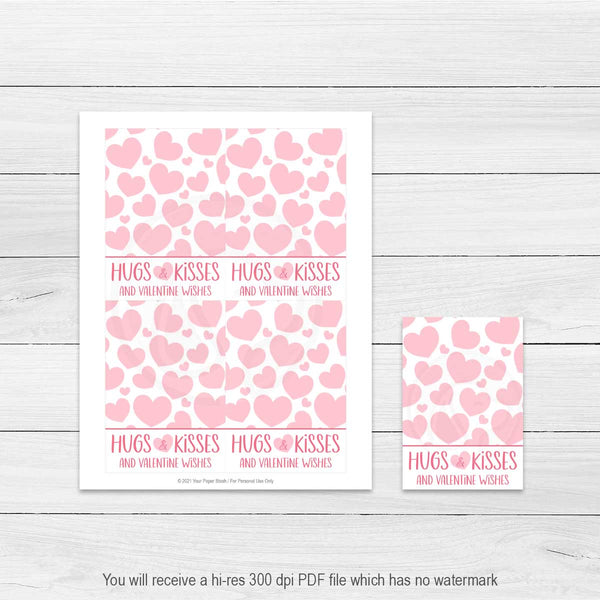 valentine's hugs and kisses printable cards