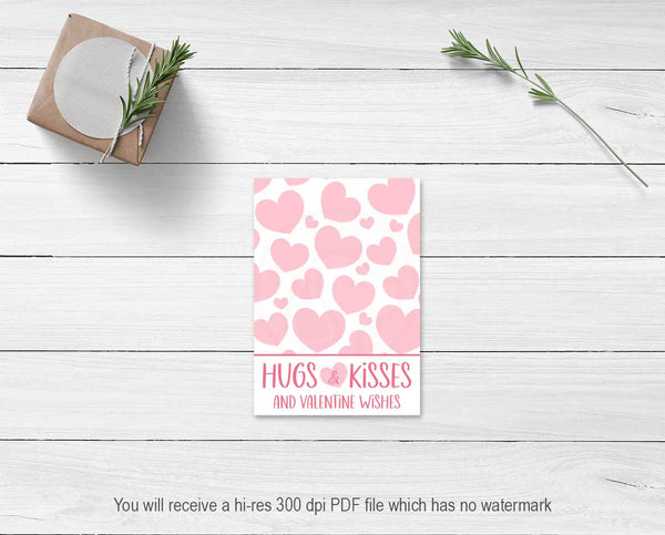 Hugs & Kisses Valentine's Day Printable Cards / Cookie Cards