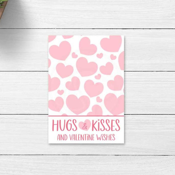 valentines day hugs and kisses valentine wishes printable cookie card kids valentine's day cards instant download treat bag topper large gift tags