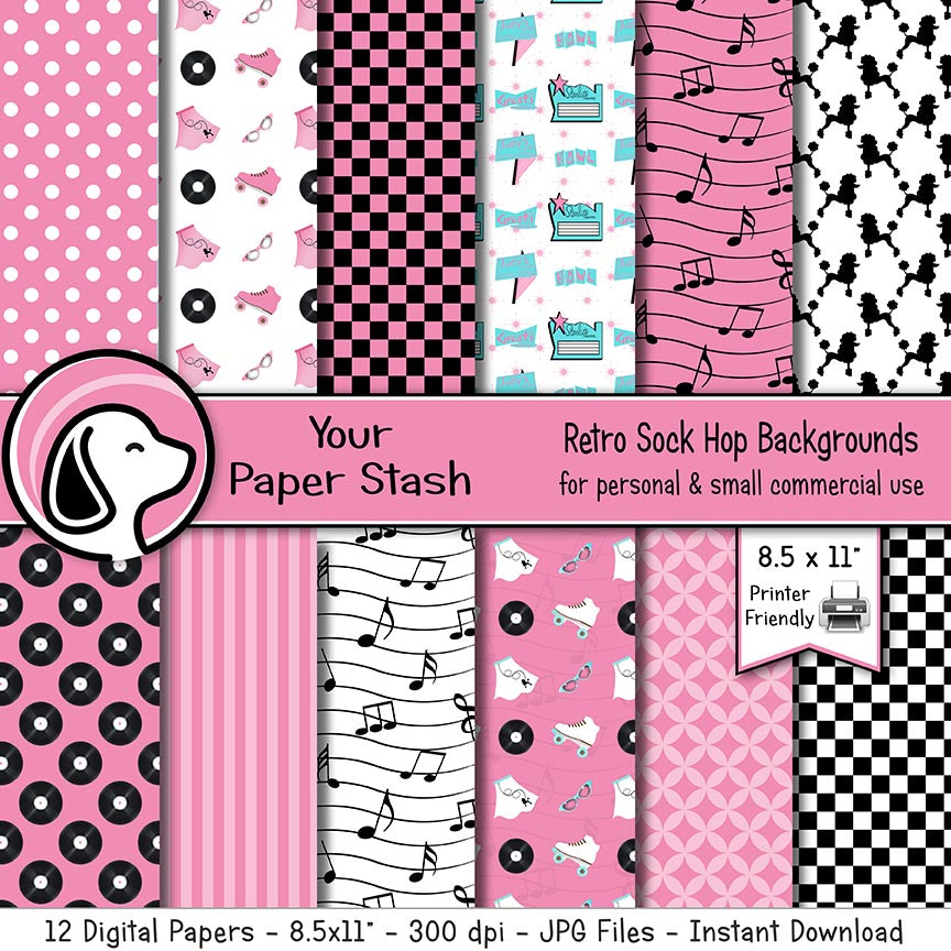 50s retro sock hop digital scrapbook paper