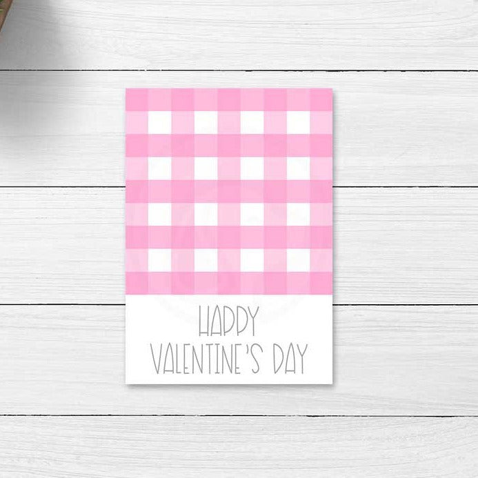 pink gingham valentines day valentine cookie card printable cards tags treat bag topper large gift tags romantic