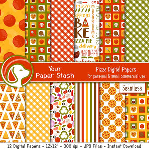 pizza pizzeria parlor party digital scrapbook paper backgrounds pepperoni toppings bake gingham party paper craft supplies your paper stash yourpaperstash