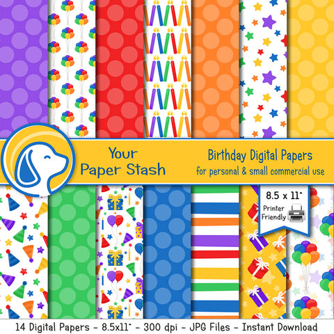 birthday digital scrapbook paper background boy girl