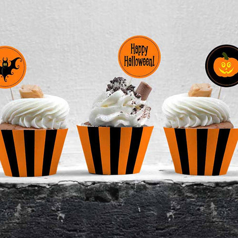 printable cupcake wrappers and toppers for halloween party black orange stripe pumpkin bats
