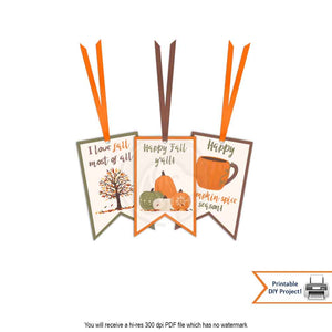 printable halloween autumn thanksgiving pumpkin spice i love fall gift tags party deocrations instant download
