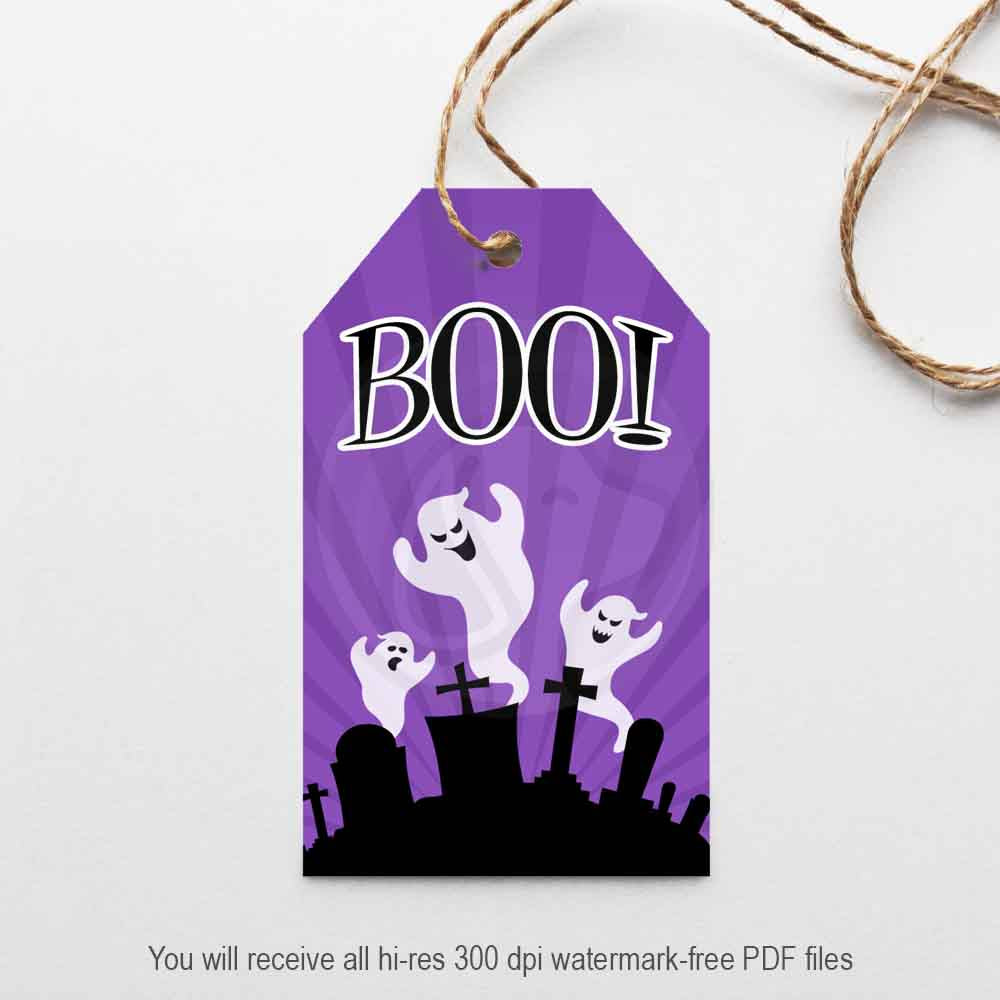 halloween boo ghost cemetery printable gift tag haunted house party decorations craft projects supplies scrapbooking