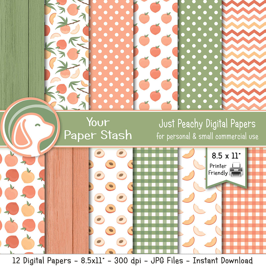 peach digital scrapbook paper backgrounds gingham wood texture commercial use