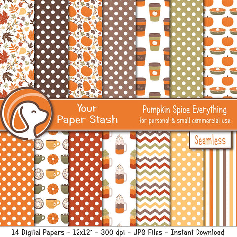 autumn pumpkin spice coffee latte digital scrapbook paper backgrounds pumpkin pie thanksgiving happy fall festival warm inviting backgrounds falling leaves