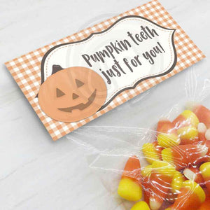 pumpkin teeth printable treat candy goody bag toppers halloween thanksgiving party favor bags for kids