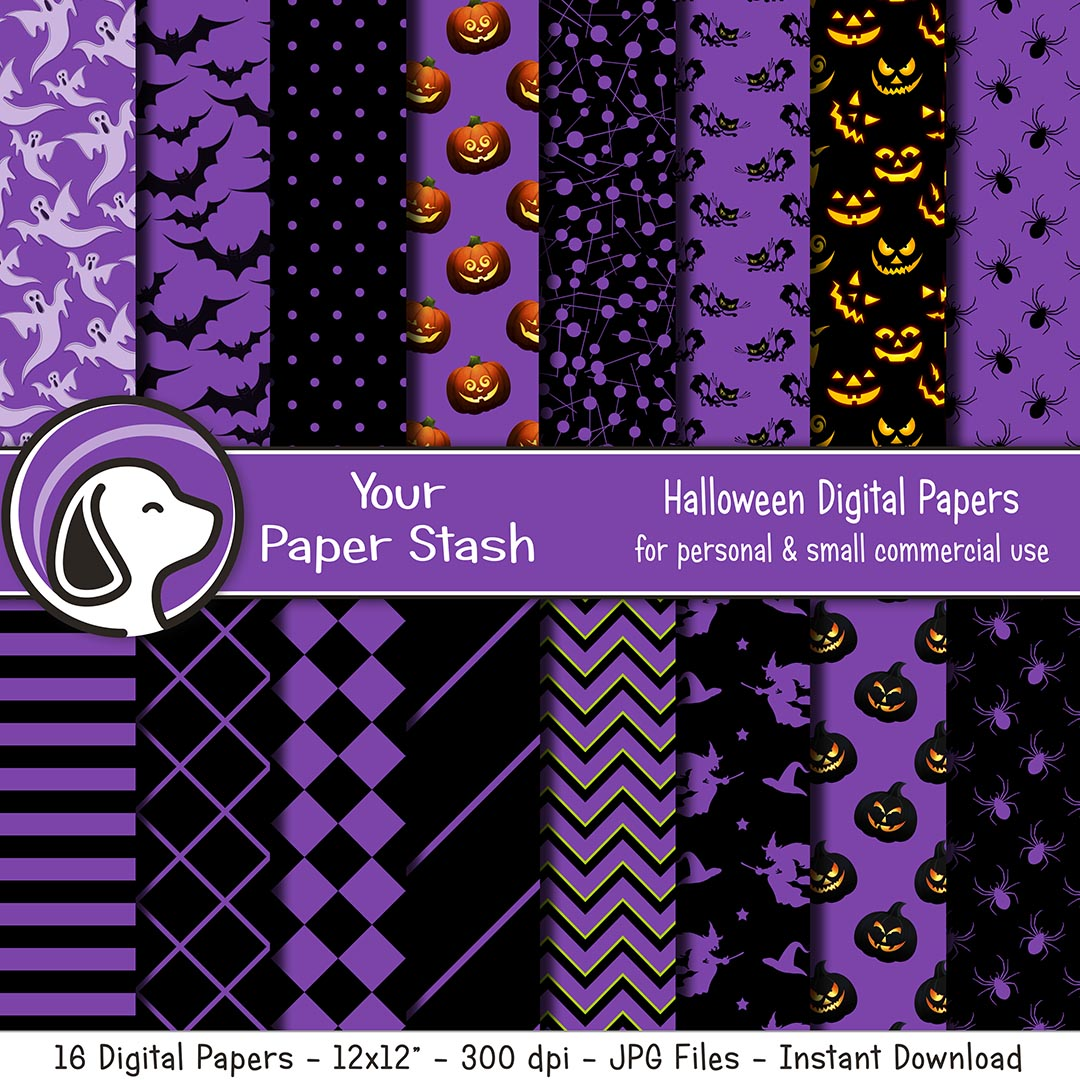 Purple and Black Halloween Digital Scrapbook Papers