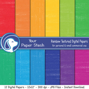 Bright Rainbow Digital Scrapbook Papers with Distressed Background, Rainbow Color Digital Backgrounds