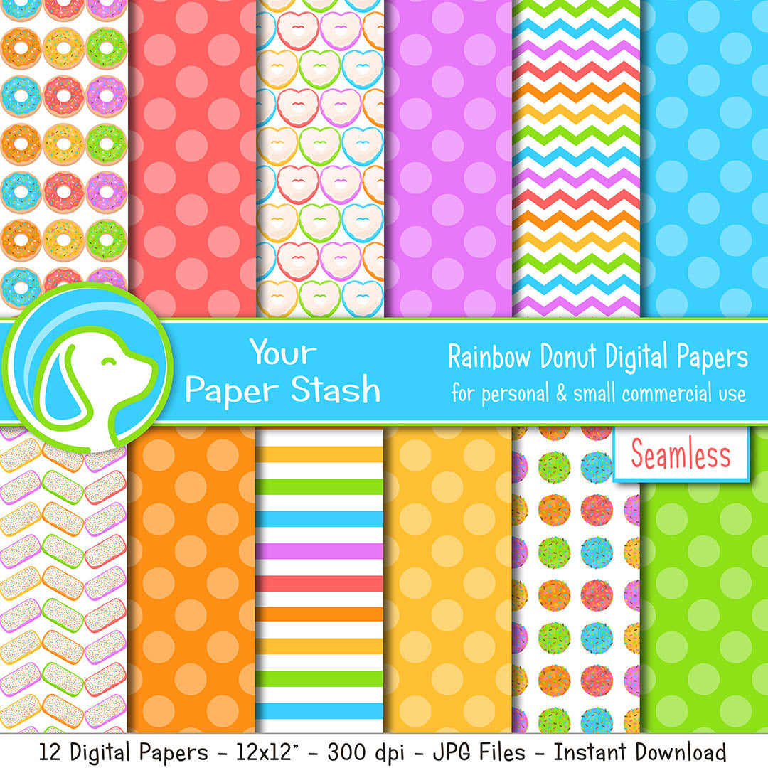 Rainbow Donut Themed Digital Scrapbook Papers and Backgrounds, Doughnut Digital Paper for Scrapbooking and Card Making