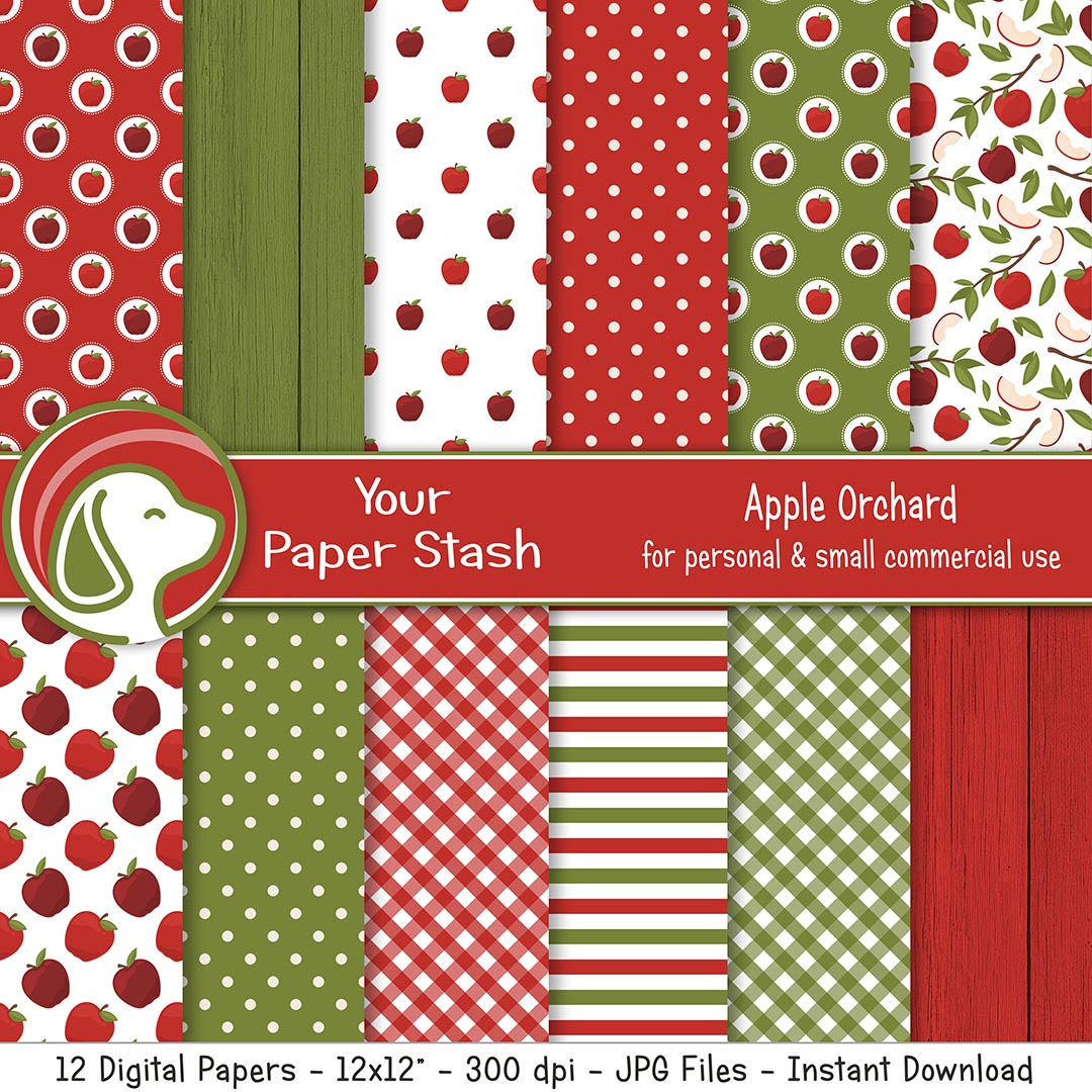 Red Summer Apple Digital Scrapbook Papers & Backgrounds, Fruit Themed Digital Paper Pack, Instant Download Papers