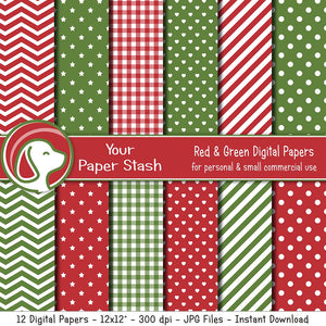 Red & Green Digital Paper Pack for Christmas Scrapbooking Pages
