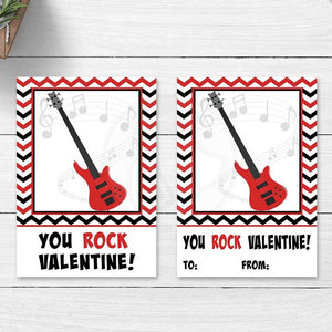 red black valentine you rock printable card cookie cards tags bag toppers party favors card exchange kids crafts fun projects printables