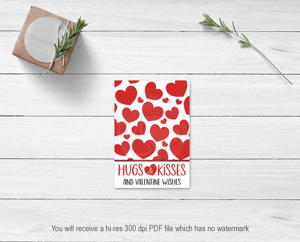 printable kids valentine cards classroom party hugs kisses cookie cards tags note cards instant downlaod