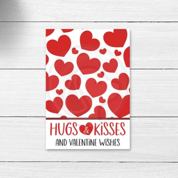 red heart valentine's valentine day hugs and kisses printable cookie cards tags card instant download kids valentine classroom party