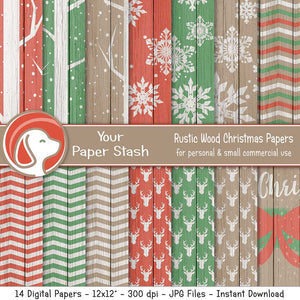 Rustic Christmas Wood Digital Papers and Backgrounds