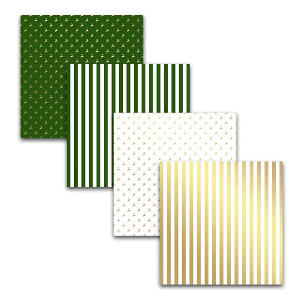 green and gold holiday scrapbooking papers